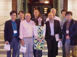 左より,Dr. Yoon,ふく隊長,Dr. Jester,Justin,有田隊長,Dr. Villani,Dr. Paugh,Dr. Yu,Dr. Yang,