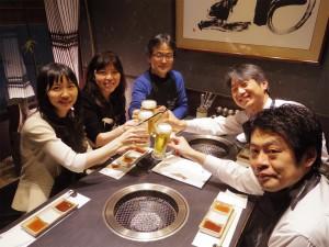 新しいプロジェクトリーダーとしてお迎えした溝口先生の歓迎会(牛タンをたくさん食べました!)